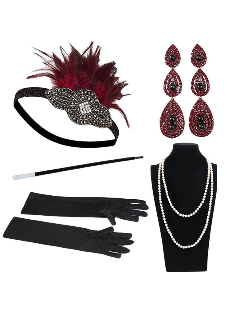 Womens 1920s Flapper Dress Accessories Set