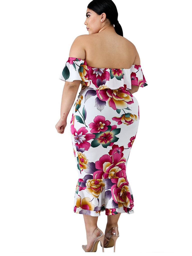 Plus Size Dress Slash Neck Floral  Maxi Long Dress
