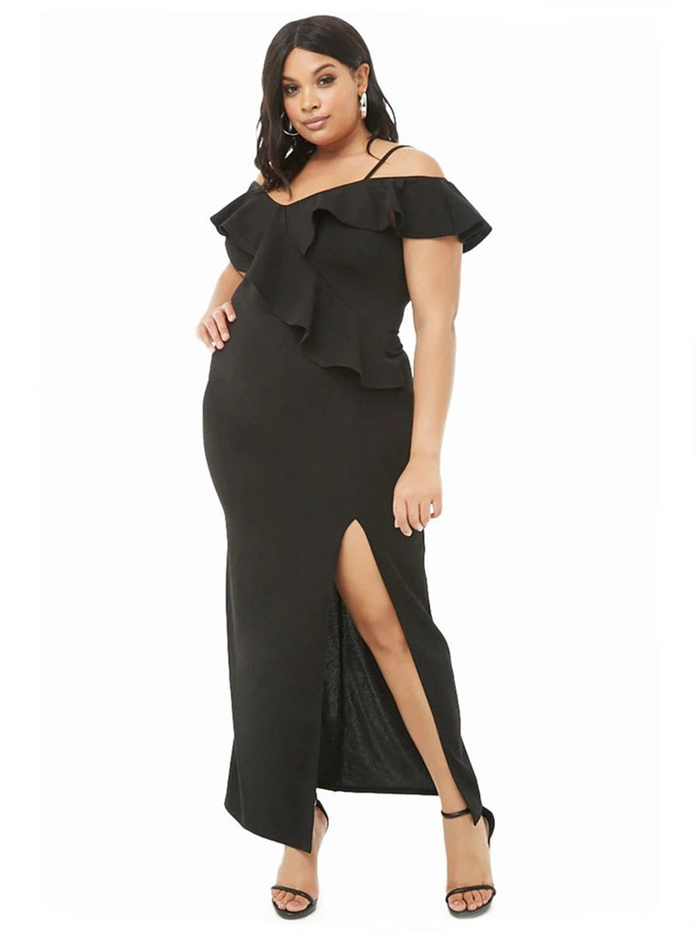 Plus Size Dress Solid Color Ruffled Split Dress