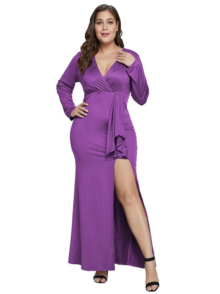 Plus Size V Neck Split Solid Color Long Sleeve Dress