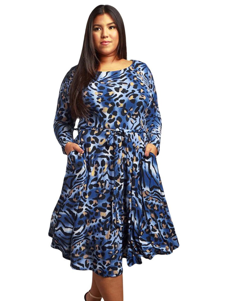 Plus Size Dress Pocket Design O Neck Long Sleeve Print Loose Midi Dress