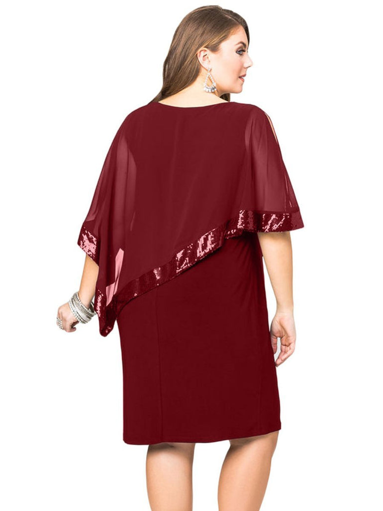 Plus Size Dress Batwing Sleeve Bodycon Midi Dress