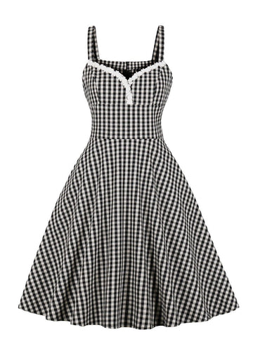 Slip Dress Simple Plaid Pattern Aline Dress for Women