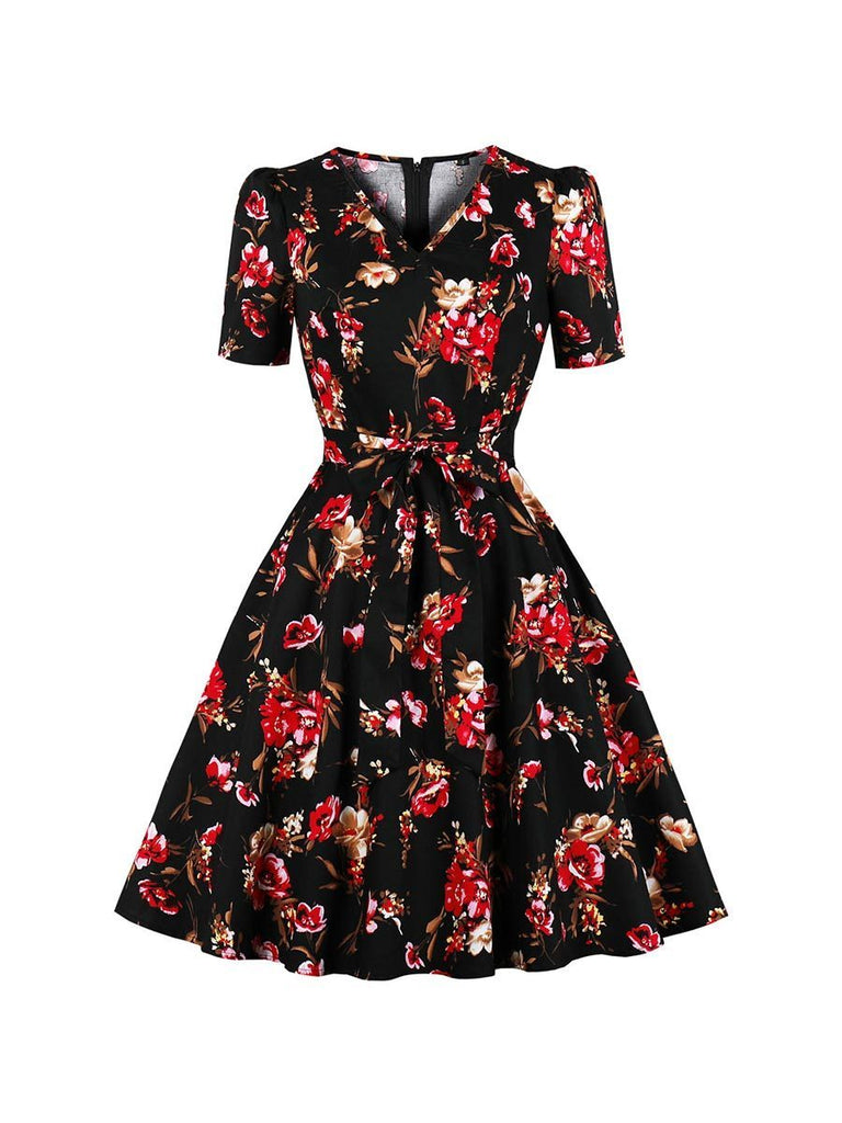 Swing Dress V-neck Short Sleeve Printed A-line Dress
