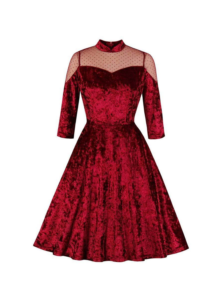 Swing Dress Elegant Velvet Stand Collar A-line Dress