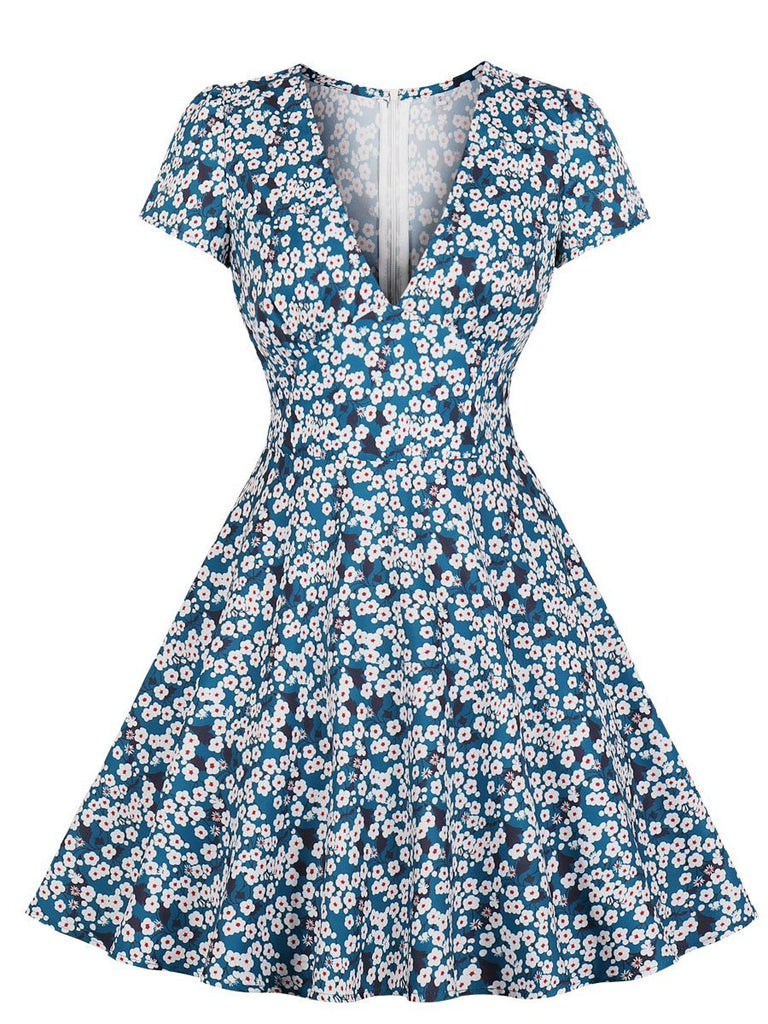 1950s Dress Fresh Style Small Floral V Neck Aline Dress