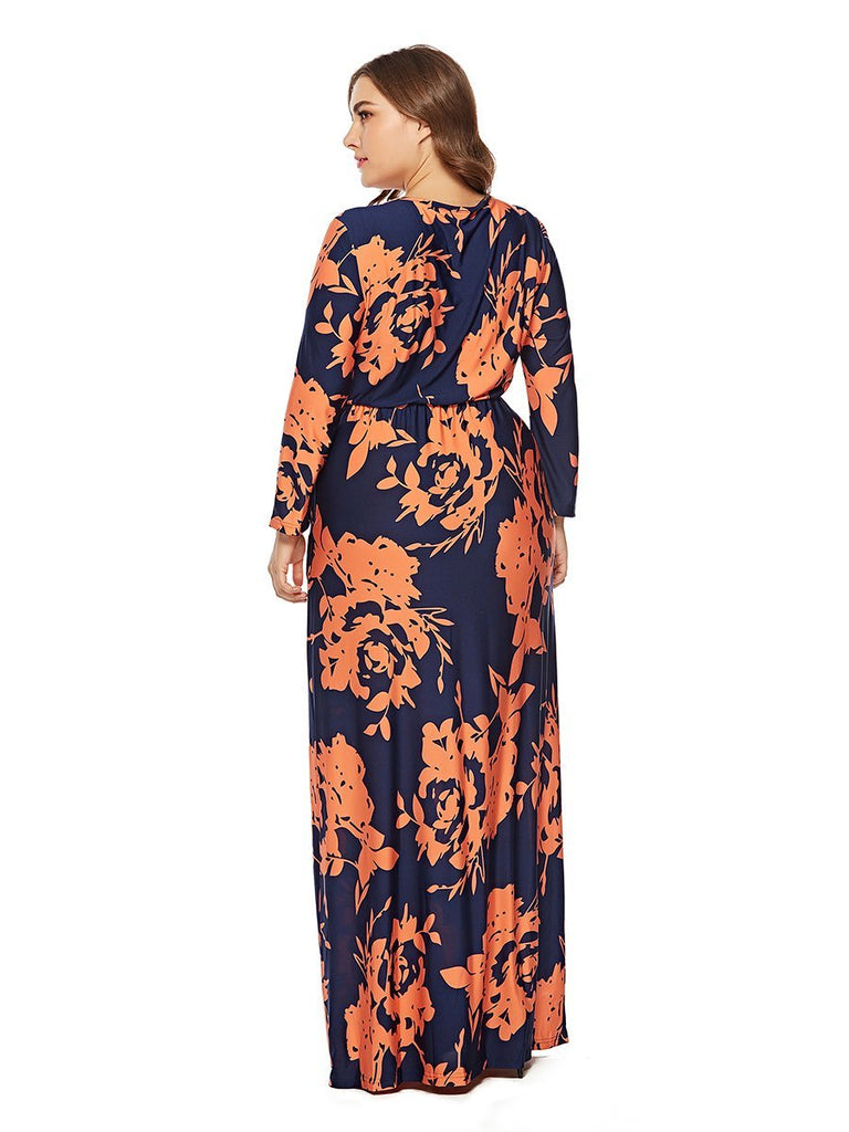 Plus Size Dress O Neck Floral Maxi Long Dress