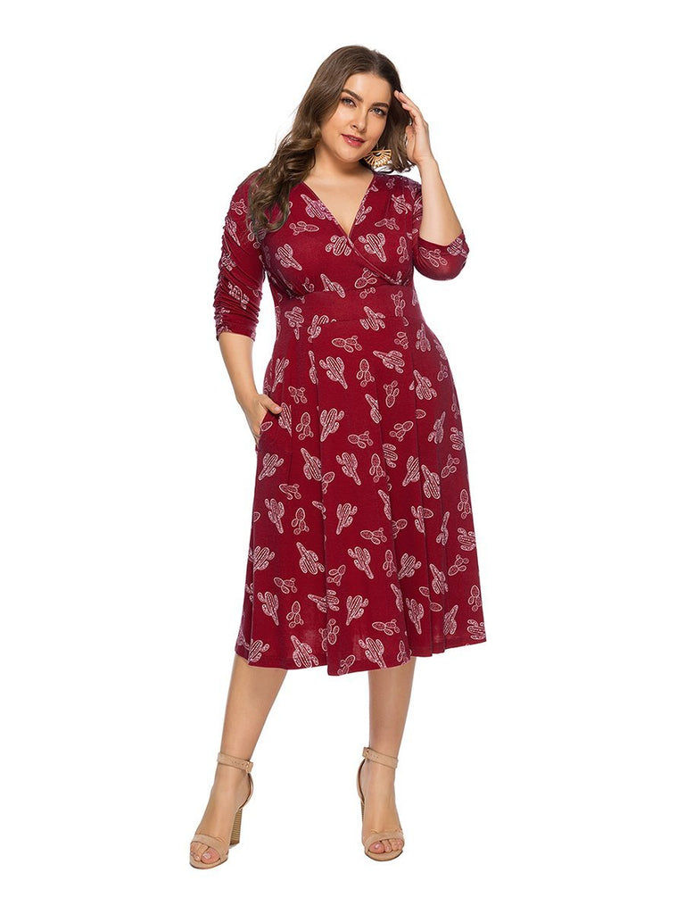Plus Size Dress Vintage Three Quarters Sleeve V Neck Floral Midi Dress