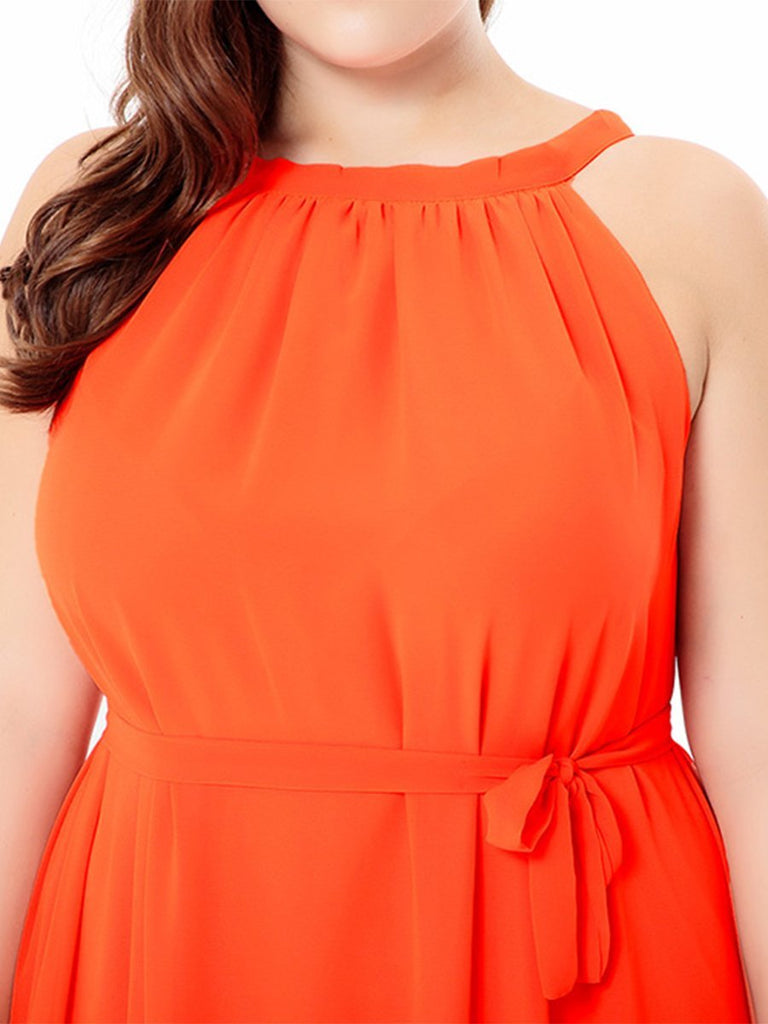 Plus Size Dress Sleeveless Solid Color Beach Dress