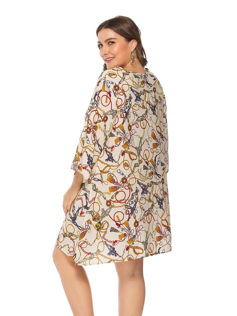 Plus Size Dress Loose Soft Stylish Print Mini Dress