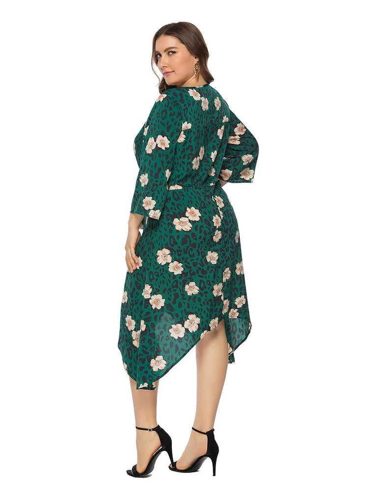 Plus Size Dress Floral Sash Design O Neck Irregular Dress