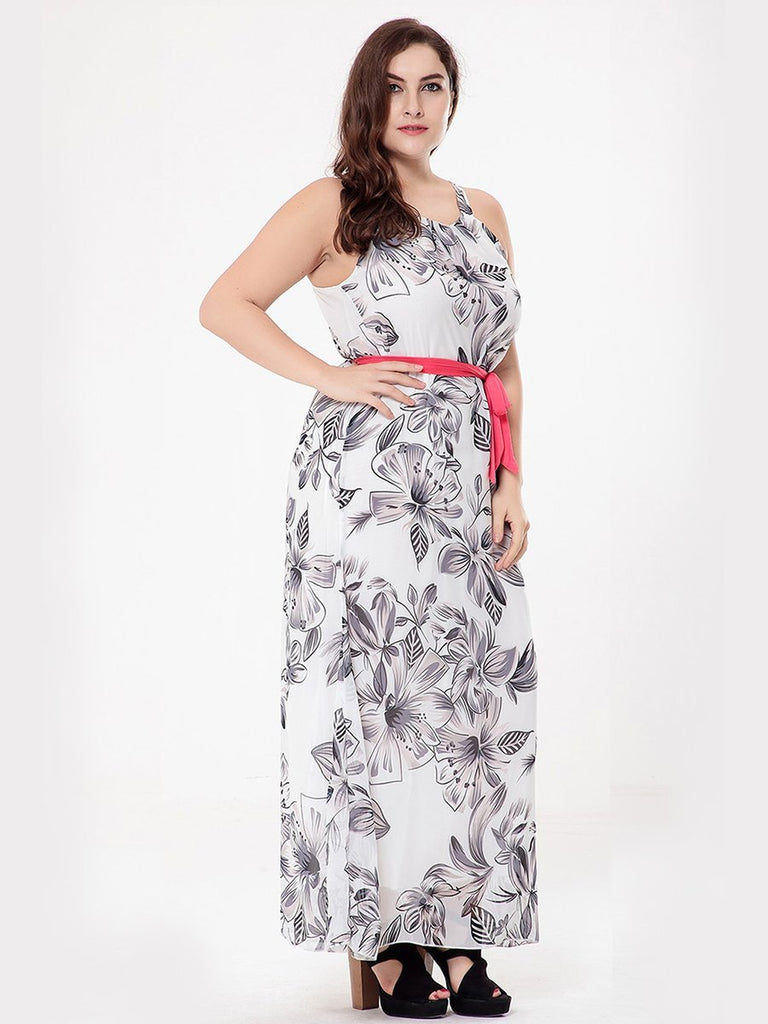 Plus Size Dress Plain Style Floral Sleeveless Maxi Long Dress