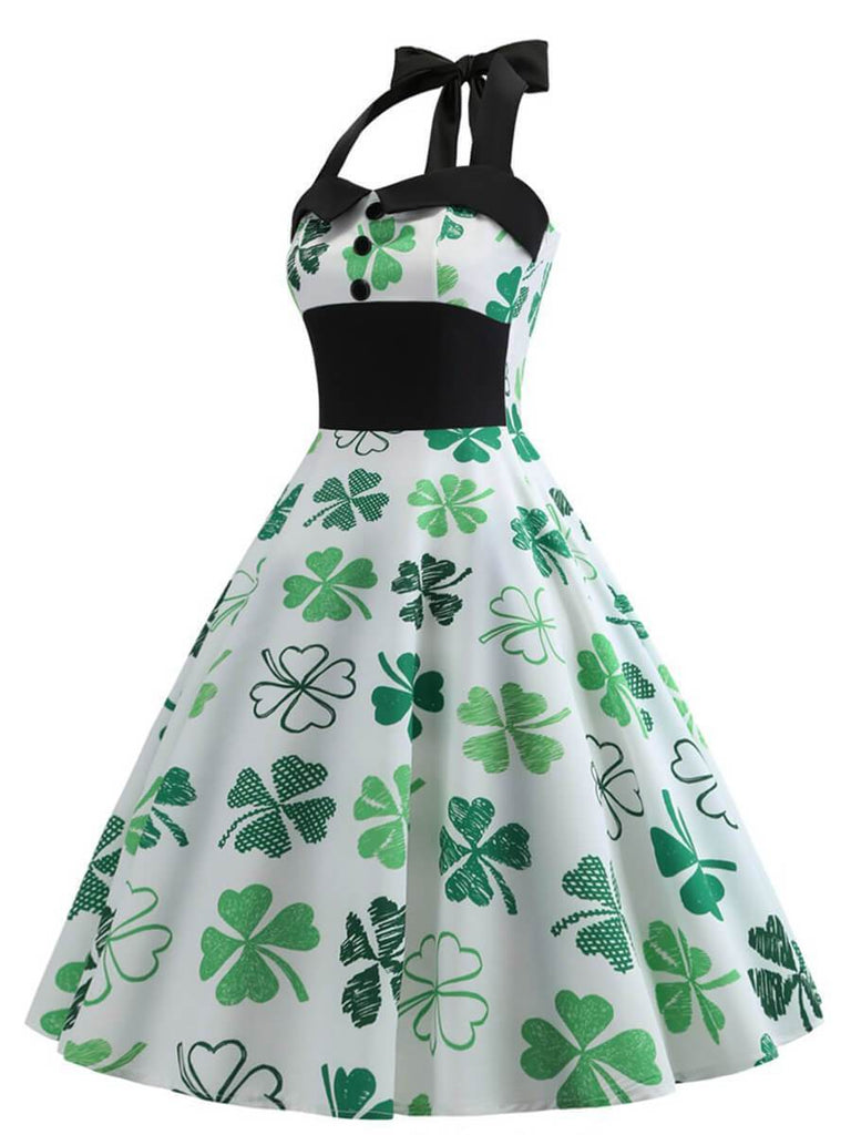 Retro Dresses Halter A-Line Sleeveless Vintage Dress with Four-leaf Clover Pattern
