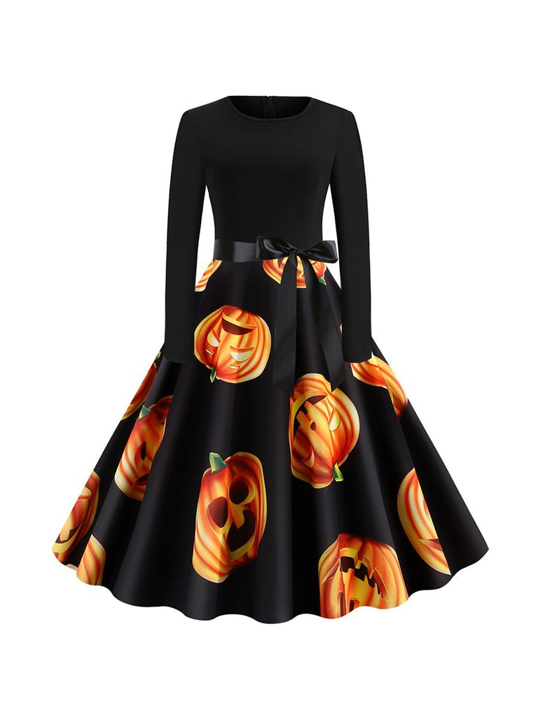 Halloween Autumn Round Neck Long Sleeve Pumpkin Head Print Dress