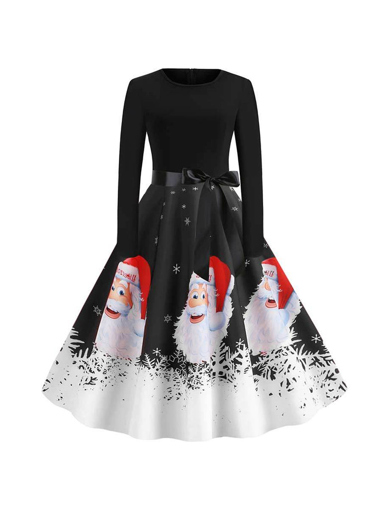 Christmas Dress Santa Avatar Print Long Sleeve Swing Dress