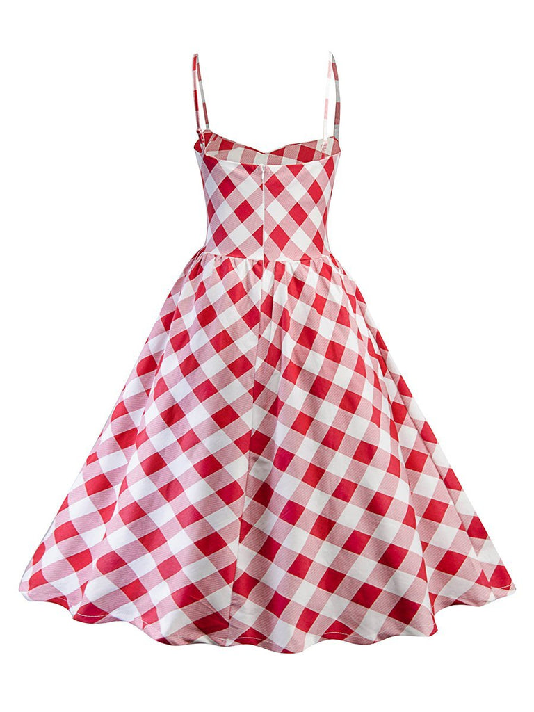 1950s Dress Vintage Gingham Pattern Slip Dress