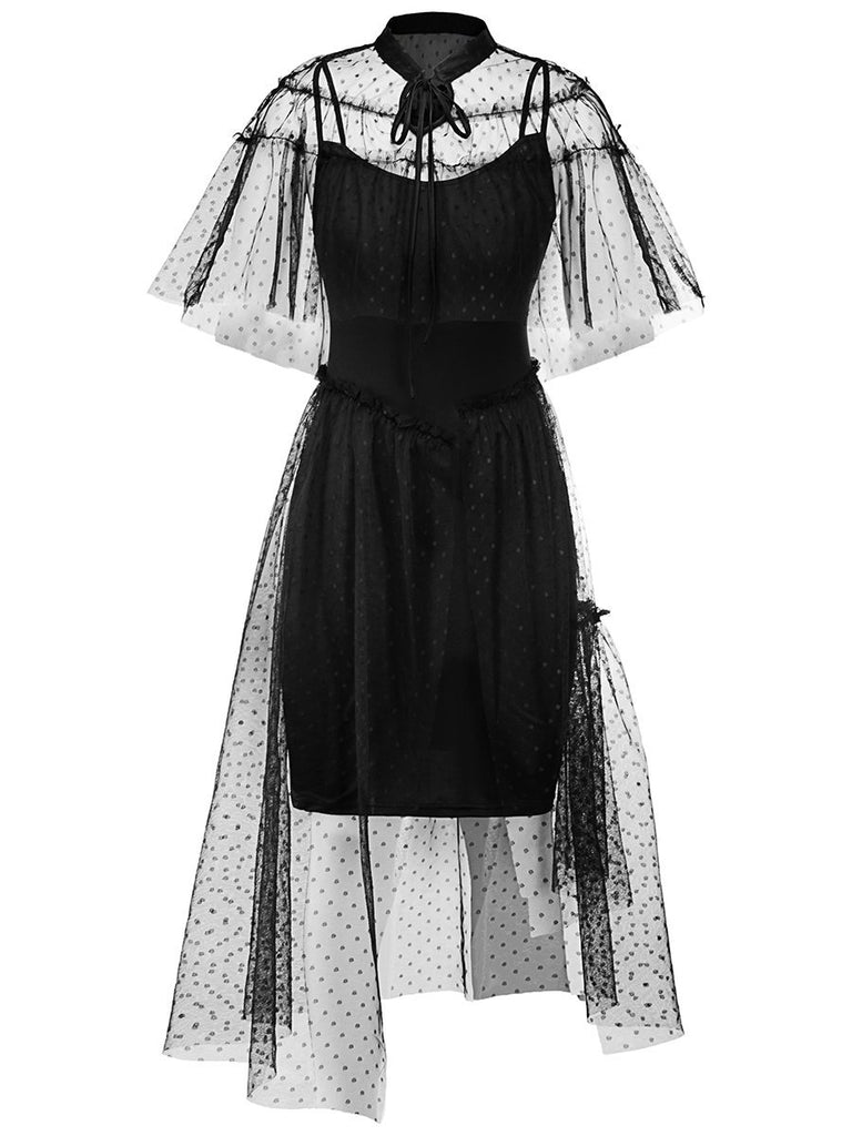 1950s Irregular dress Mesh Patchwork Dress