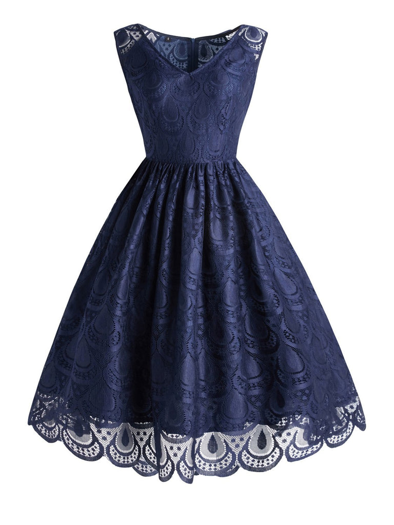 1950s Lace Patchwork Sleeveless Aline Dress