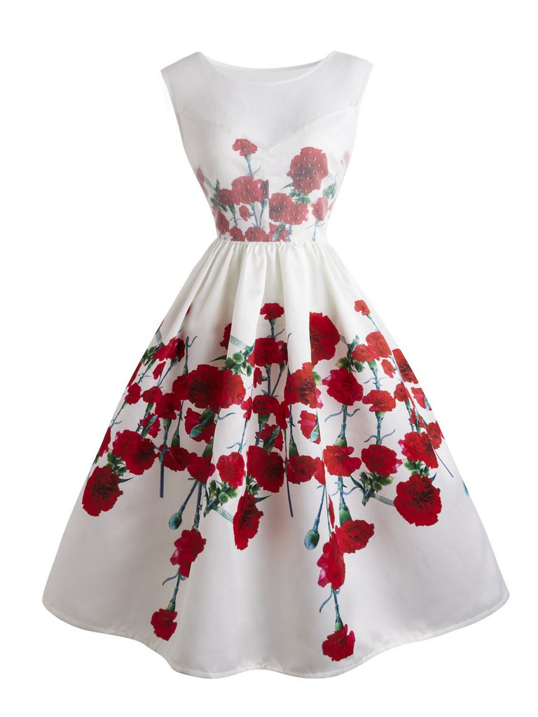 1950s Retro Style Lace Patchwork Floral Sleeveless Aline Dress
