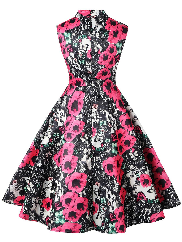1950s Elegant Floral Hollow Out Sleeveless Midi Dress
