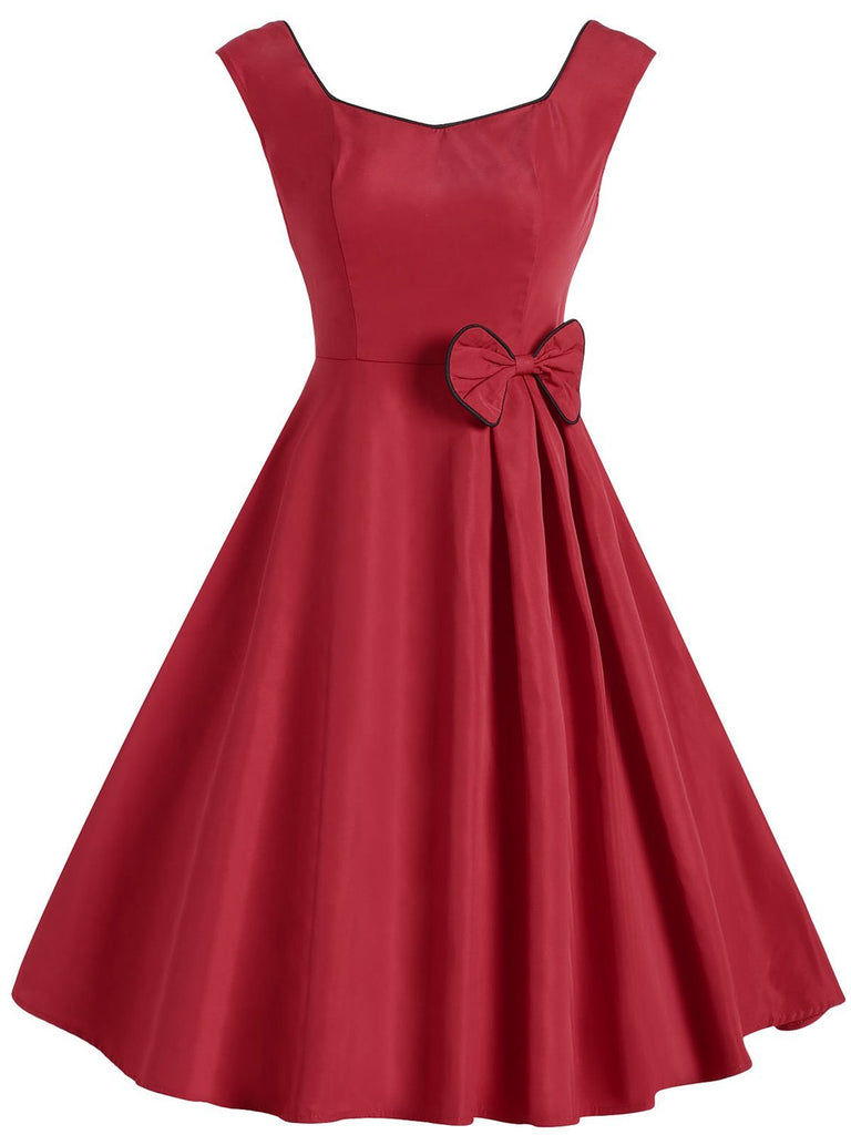 1950s Bow Decor Solid Color Sleeveless Midi Dress