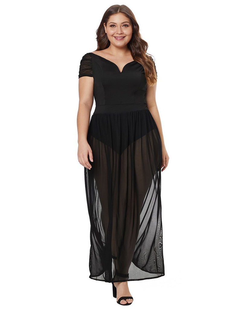 Plus Size Dress Mesh Patchwork High-waist Connected Crotch Design Dress