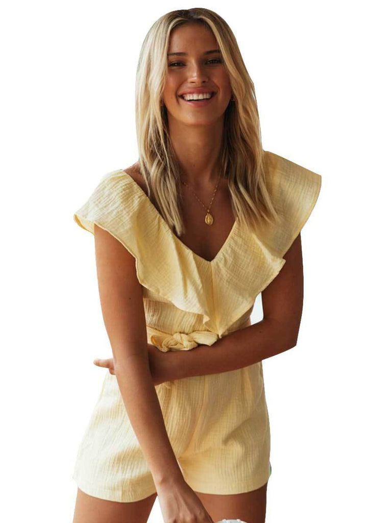 Fashion Solid Color Waist Ruffled V-neck Short Sleeve Playsuit For Women