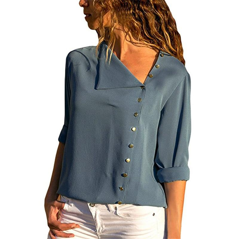 Leisure Blouse Long Sleeve Skew Collar Solid Office Shirt