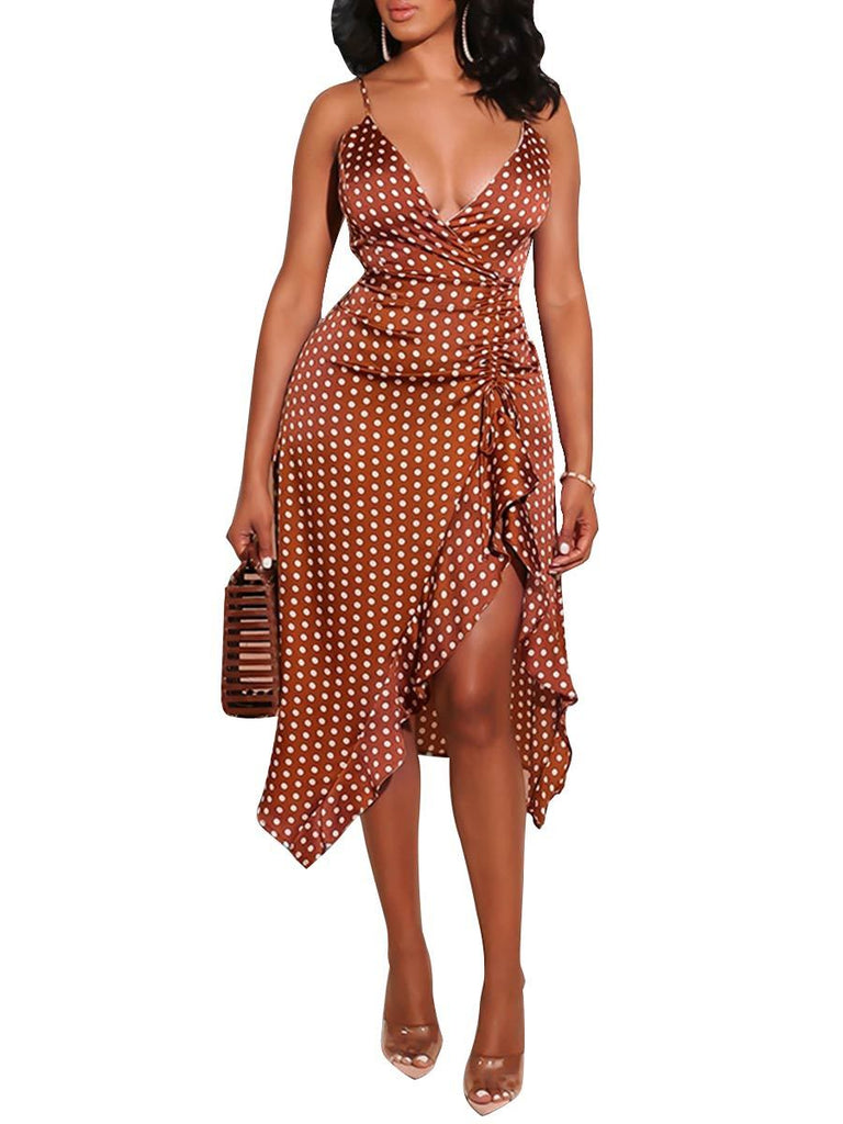 Polka Dot Ruffle Split Midi Dress