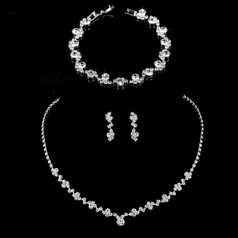 Crystal Silver Geometric Necklace Earrings Bracelet Jewelry Sets