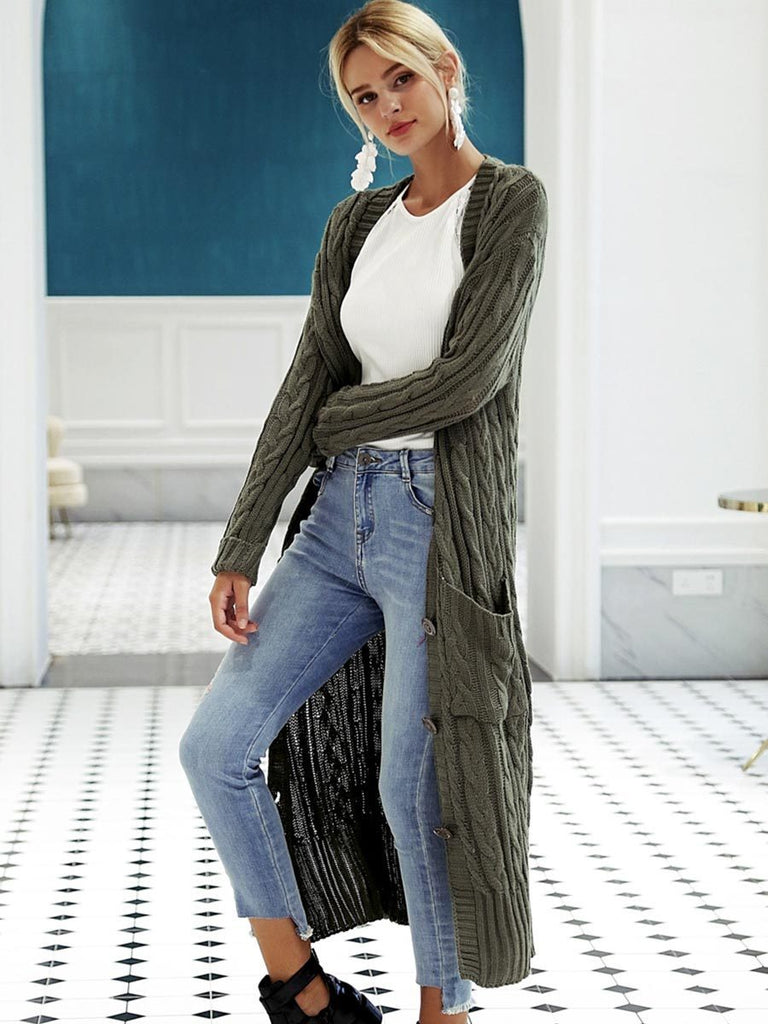 Casual Streetwear Long Sleeve Button Knitted Cardigan Coat