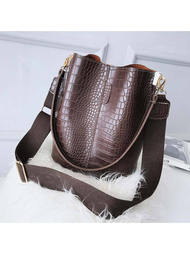 Women Bucket Bag Luxury Crocodile Crossbody Bag
