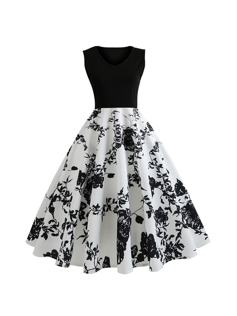 50s Elegant Party Dress Floral Patchwork Dress