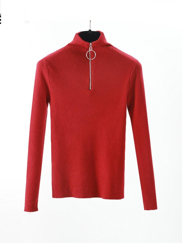 Casual Zipper Sweater Turtleneck Long Sleeve Solid Knitted Pullover