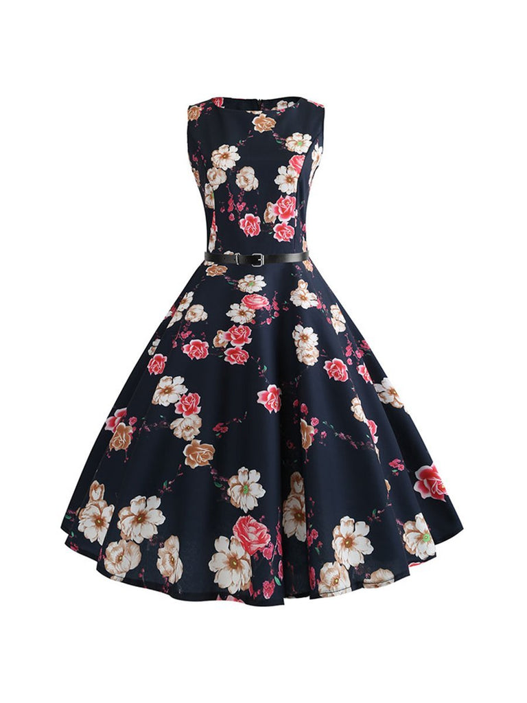 50s Sleeveless Vintage Dress Casual Floral Vintage Dress