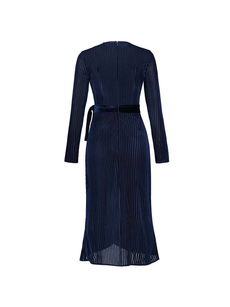 Knitted Dress Vintage Striped V Neck Lace Up Long Dress