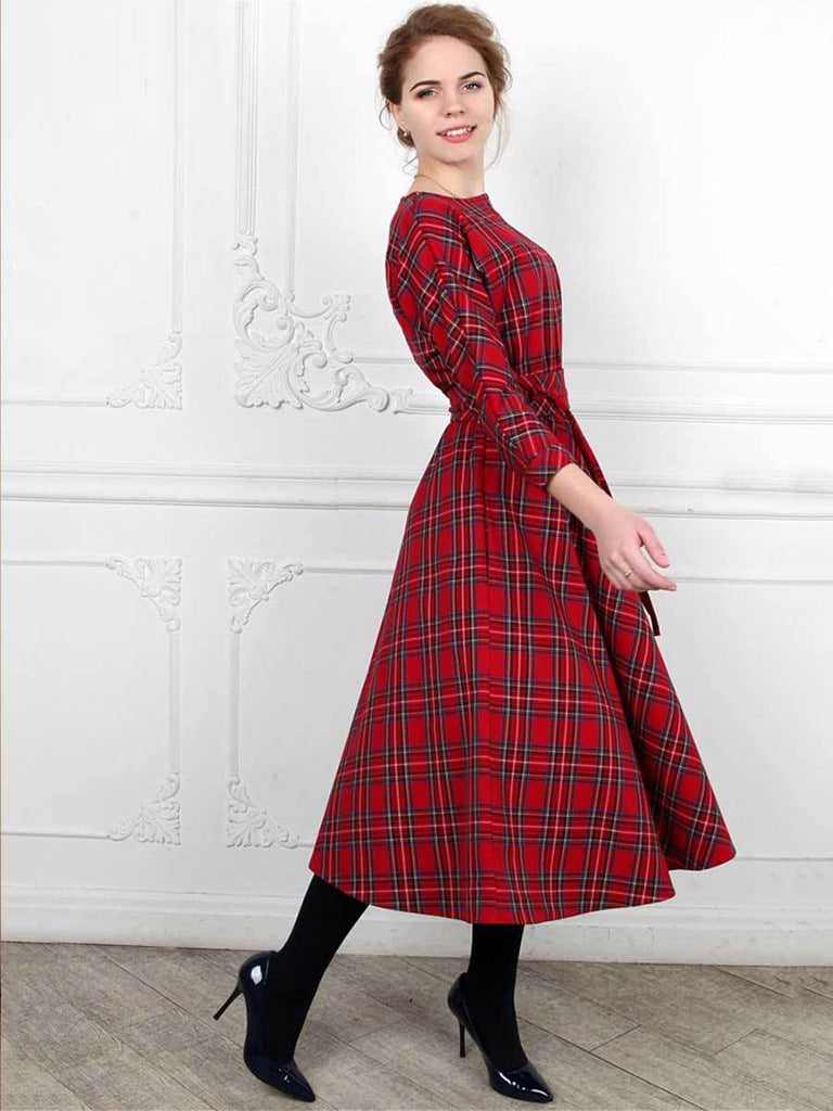 Classic England Style Red Plaid  3/4 Sleeves O-Neck Sashes Dress