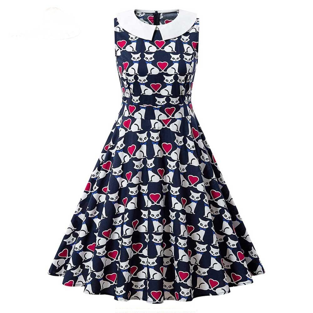 Vintage Cats Print Sleeveless Peter Pan Collar Dress