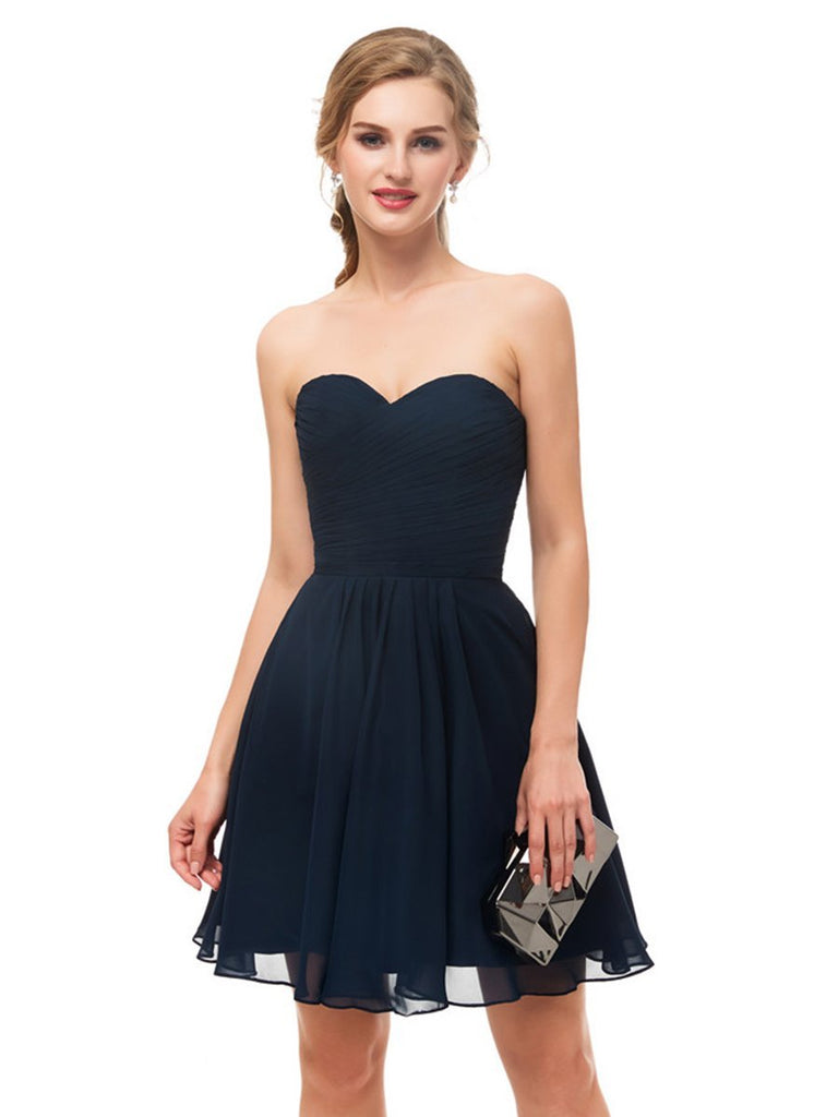 Short Homecoming Dress Navy Sweetheart Neck Pleated Party Dress