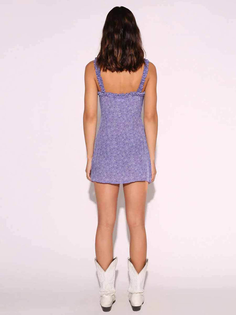 Off-shoulder Mini Purple Dress