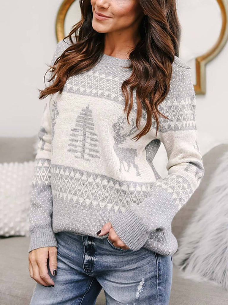 Christmas Sweater Casual Deer Printed Long Sleeve Knitted Jumper