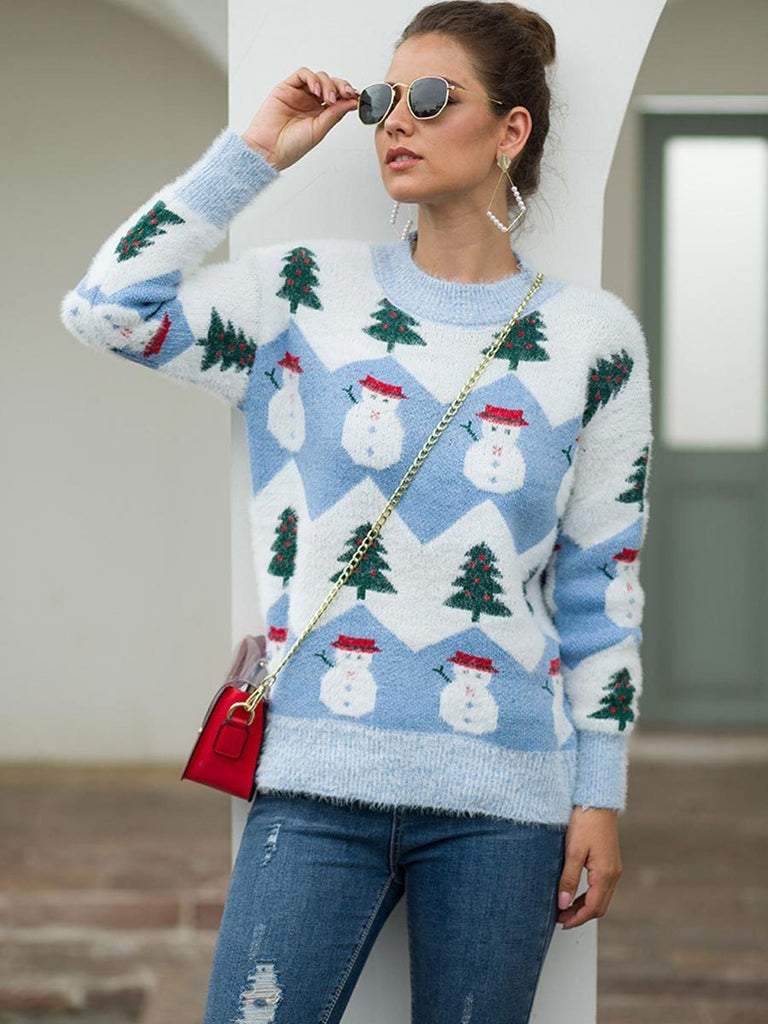 Christmas Sweater Ladies Long Sleeve O-neck Knitted Jumper