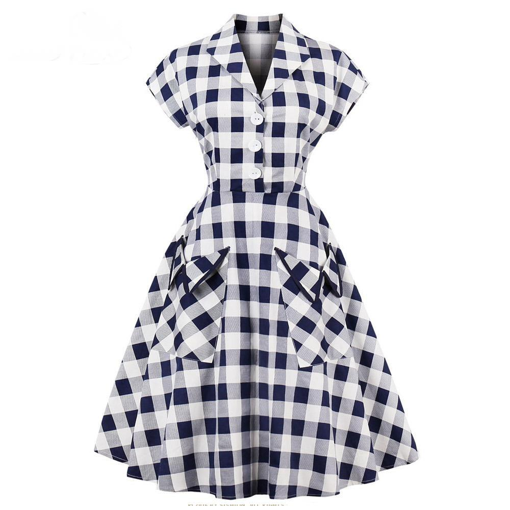 Women Short Sleeve Swing Plaid Dress With Pocket