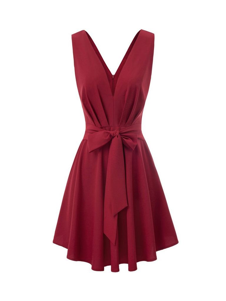 Sexy V-Neck Party Dress Tie Front Ruched Swing Dress