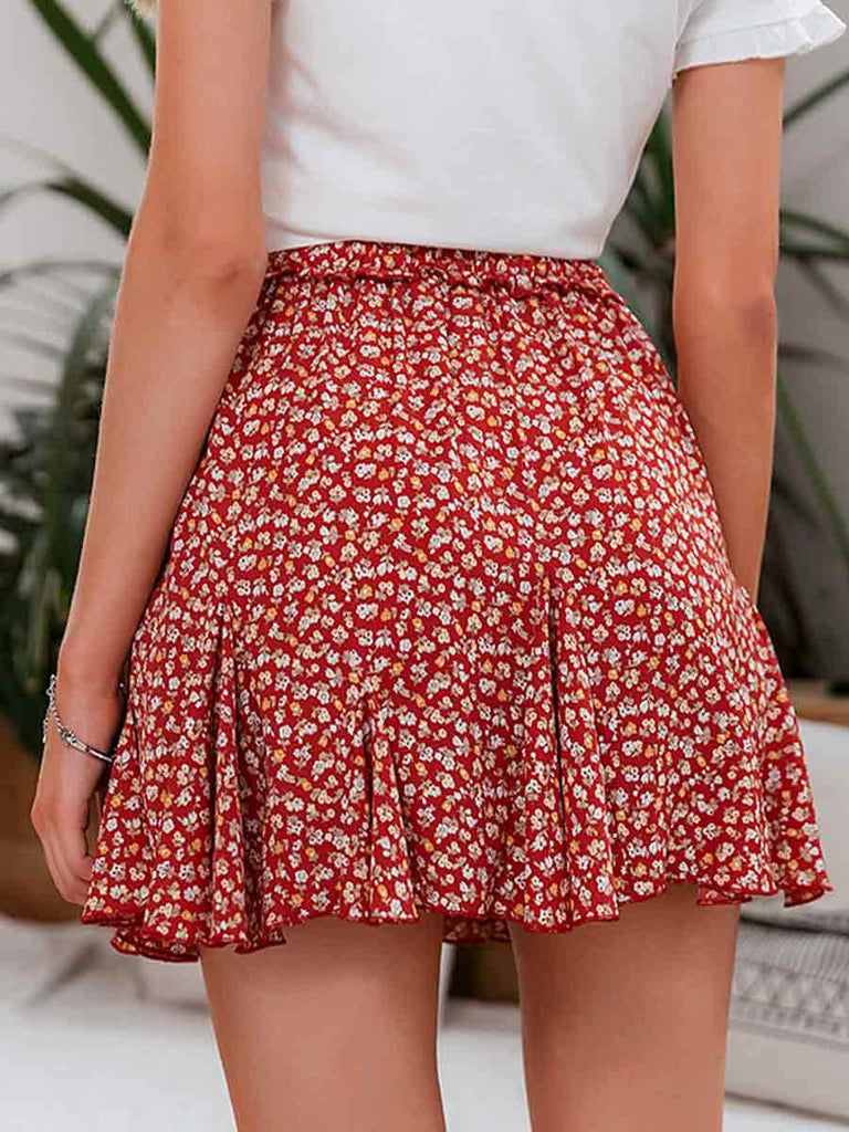 Ladies Mini Skirt High Waist Ruffles Floral Print A-line Skirt