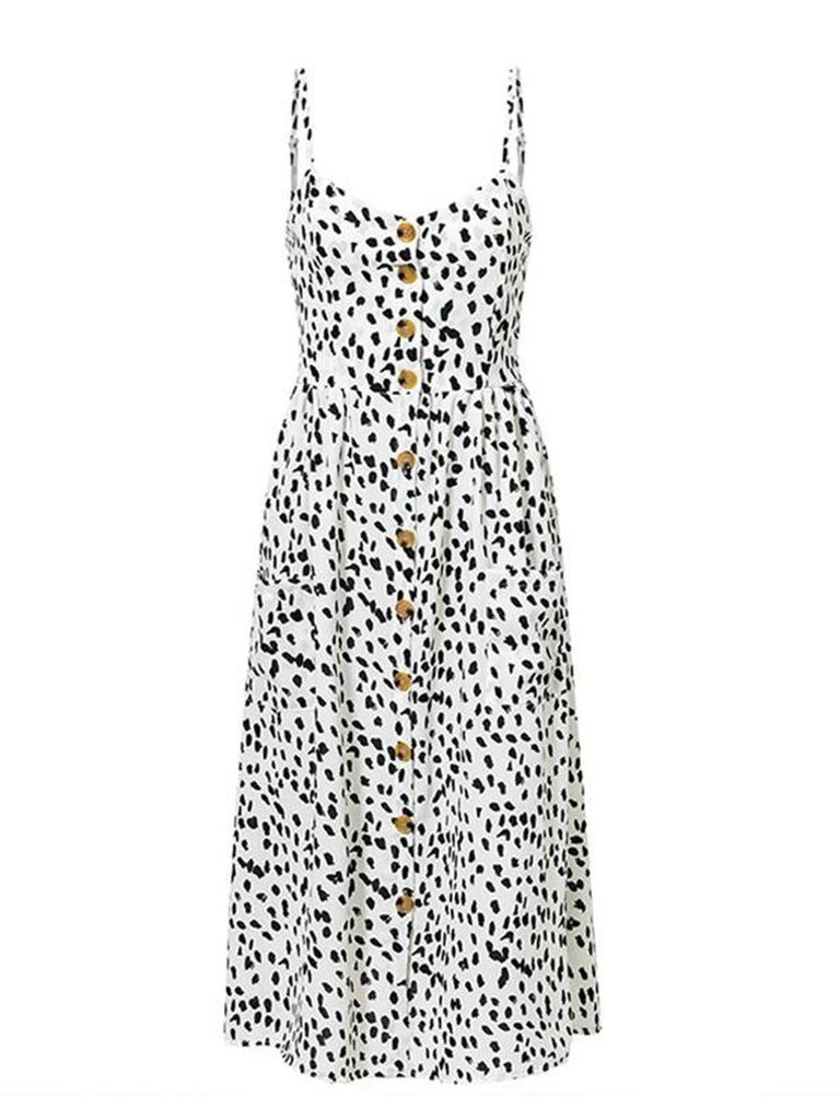 Holiday Slip Dress Polka Dot Botton Design Dress with Pockets