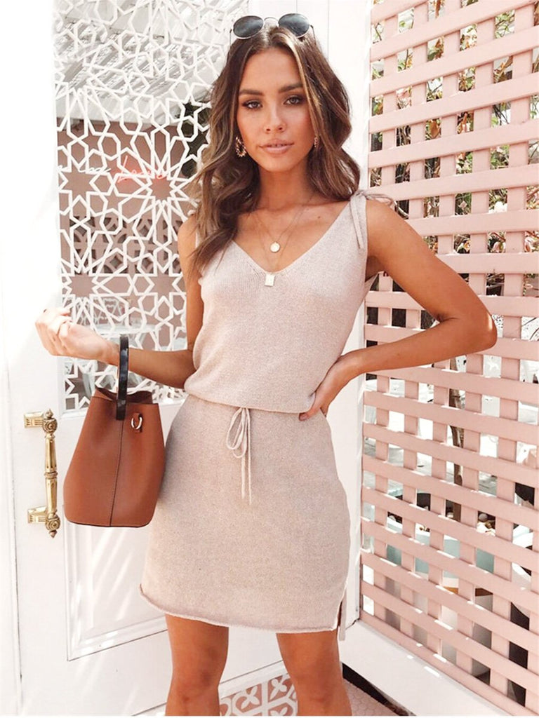 Casual Dress Backless Solid Slit Wrap Spaghetti Strap Sundress