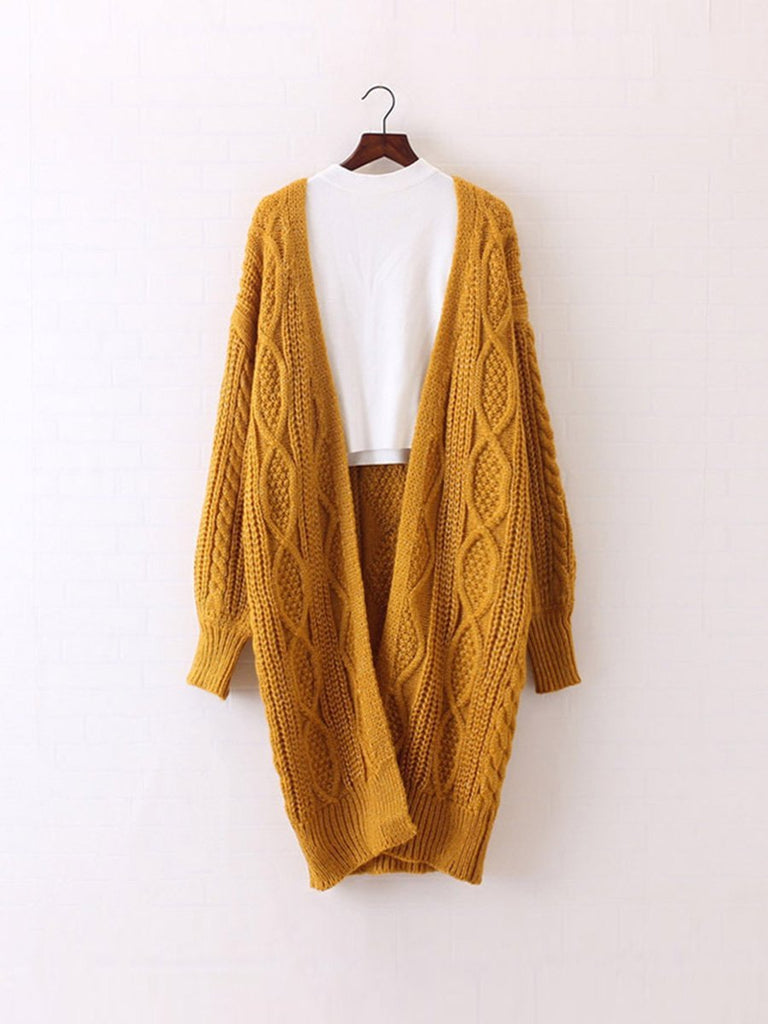 Long Cardigan Oversized Lantern Sleeve Knitted Sweater Cardigan