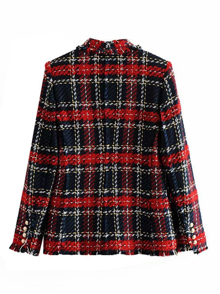 Ladies Outerwear Vintage Double Breasted Frayed Checked Tweed Blazers Coat