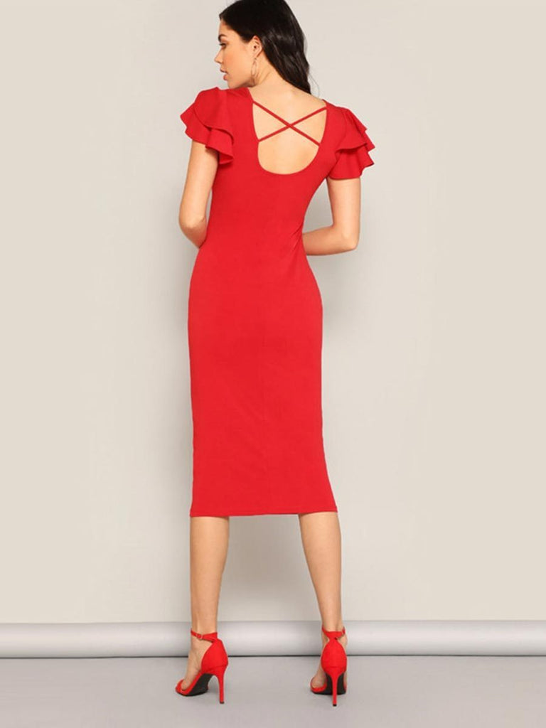 Solid Midi Dress Layered Ruffle Sleeve Crisscross Back Dress